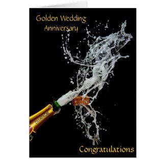 Bouteille d'anniversaire de mariage d'or de carte de vœux