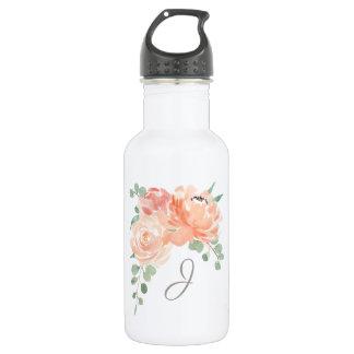 Bouteille D'eau Bouquet floral de pêche avec tout monogramme
