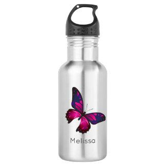 Bouteille D'eau Buttefly rose et pourpre personnalisé