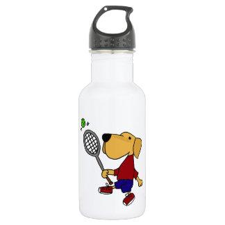 Bouteille D'eau Chien jaune drôle de Labrador jouant la bande