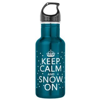 Bouteille D'eau En Acier Inoxydable Gardez le calme et la neige dessus