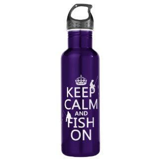 Bouteille D'eau En Acier Inoxydable Gardez le calme et pêchez dessus - les couleurs