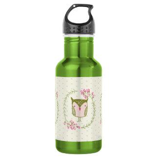 Bouteille D'eau En Acier Inoxydable Guirlande florale et coeurs de hibou mignon