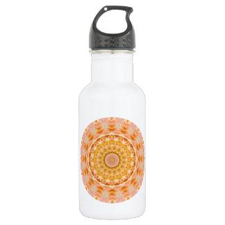 Bouteille D'eau En Acier Inoxydable Kaléidoscope rond de mandala de jaune et de rose