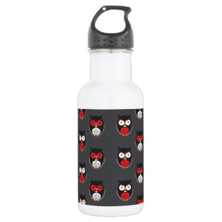 Bouteille D'eau En Acier Inoxydable Les hiboux mignons avec rouge, blanc observe