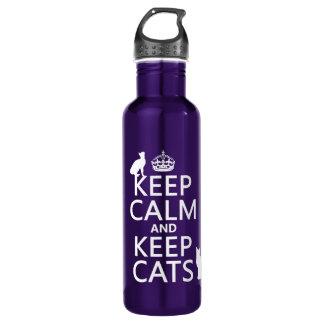 Bouteille D'eau En Acier Inoxydable Maintenez calme et gardez les chats