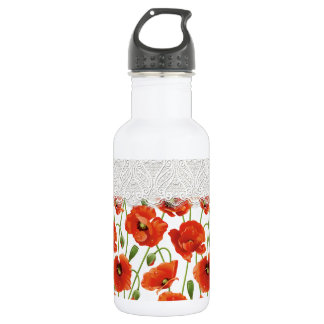 Bouteille D'eau En Acier Inoxydable Pavot fleurissant rouge