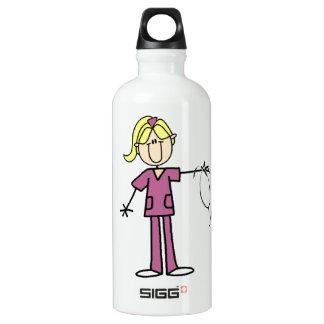 Bouteille D'eau En Aluminium Chiffre femelle blond infirmière de bâton