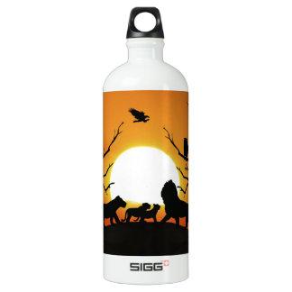 Bouteille D'eau En Aluminium Famille de lion au coucher du soleil Afrique