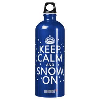 Bouteille D'eau En Aluminium Gardez le calme et la neige dessus