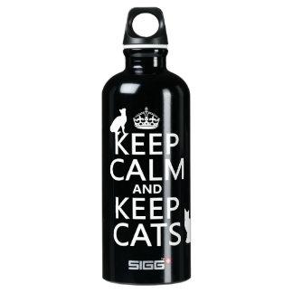 Bouteille D'eau En Aluminium Maintenez calme et gardez les chats