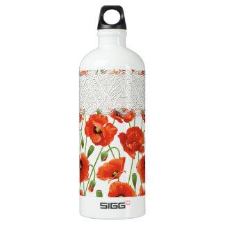 Bouteille D'eau En Aluminium Pavot fleurissant rouge