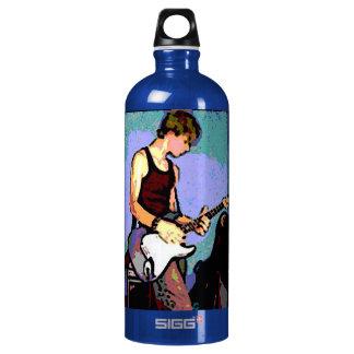 Bouteille D'eau En Aluminium Roche de Nate et de guitare sur le bleu