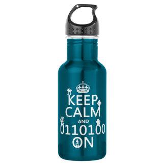 Bouteille D'eau Gardez le calme et (binaire) sur (robots) (toute