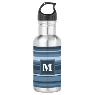 Bouteille D'eau Rayures gris-bleues de monogramme