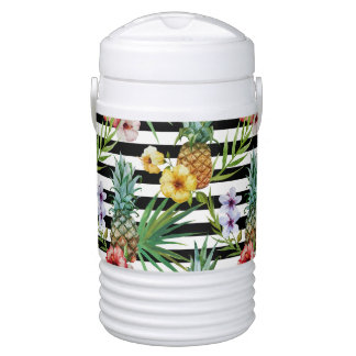 Bouteille Isotherme Rayures tropicales de noir de fleur d'ananas