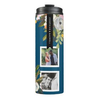 Bouteilles Isothermes Noms personnalisés par collage floral peints de