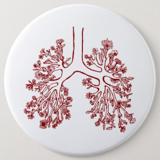 Bouton anatomique floral d'illustration de poumons badge rond 15,2 cm
