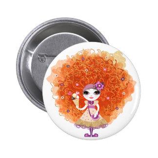 Bouton avec le caractère drôle de fille badge rond 5 cm