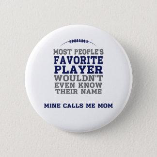 Bouton bleu et gris de joueur de football préféré badge rond 5 cm