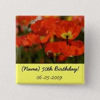 Bouton d'anniversaire badge carré 5 cm