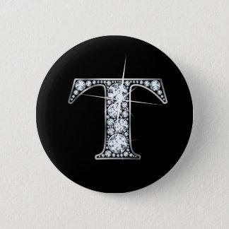 """Bouton de Bling de diamant de """"T"""" Badge Rond 5 Cm"""