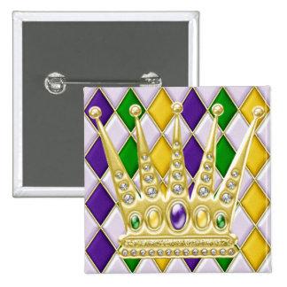 Bouton de carré de harlequin de mardi gras avec la badge carré 5 cm