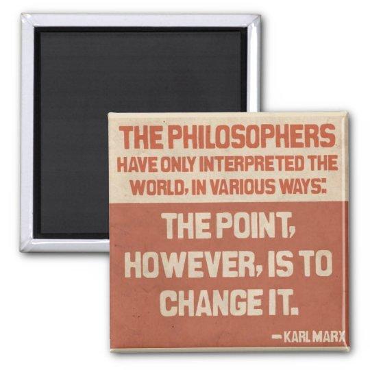Bouton de citation de Karl Marx Magnet Carré