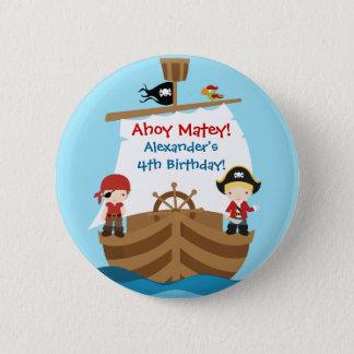 Bouton de fête d'anniversaire de bateau de pirate badge rond 5 cm