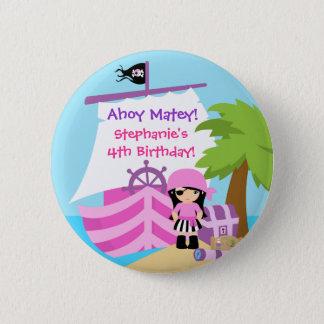 Bouton de fête d'anniversaire de fille de bateau badge rond 5 cm