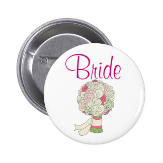 Bouton de jeune mariée badge rond 5 cm