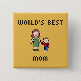 Bouton de la maman du monde de pixel le meilleur badge carré 5 cm
