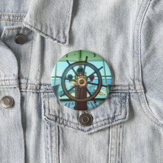 Bouton de la roue du bateau badge rond 7,6 cm