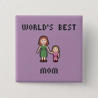 Bouton de maman de la fille du monde de pixel le badge carré 5 cm