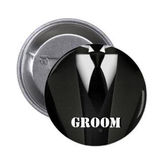 Bouton de marié badge rond 5 cm