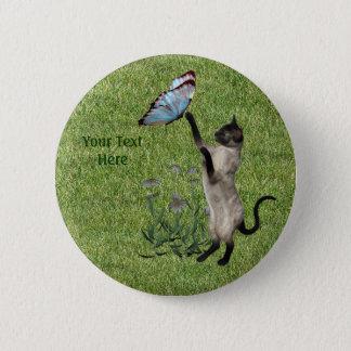 Bouton de papillon de chat siamois badge rond 5 cm