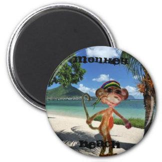 Bouton de plage de singe magnet rond 8 cm