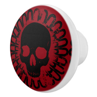 Bouton De Porte En Céramique Amusement élégant Halloween Goth de motif de crâne
