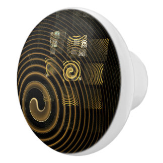 Bouton De Porte En Céramique Art abstrait d'hypnose