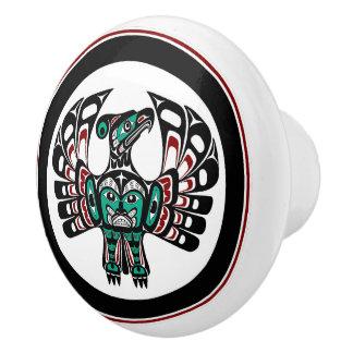 Bouton De Porte En Céramique Art du nord-ouest Thunderbird de Haida de Côte