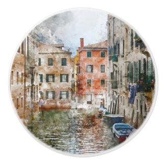 Bouton De Porte En Céramique Bateaux dans les canaux de Venise Italie