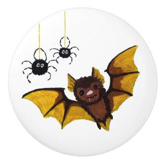 Bouton De Porte En Céramique Batte adorable de Halloween Brown avec 2 araignées