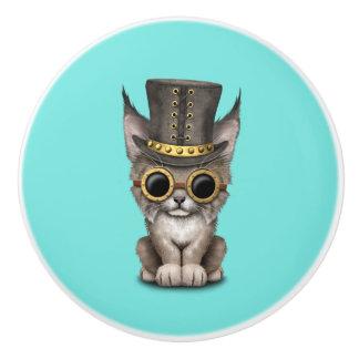 Bouton De Porte En Céramique Bébé mignon Lynx CUB de Steampunk