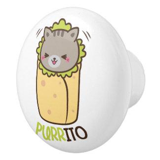 Bouton De Porte En Céramique Burrito de chat de Purrito Kitty