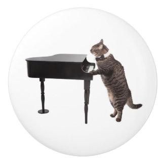 Bouton De Porte En Céramique Chat jouant le piano