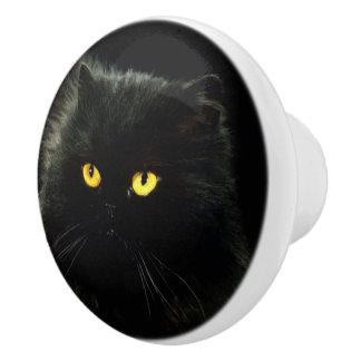 Bouton De Porte En Céramique Chat noir