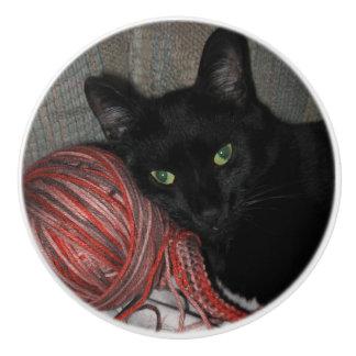 Bouton De Porte En Céramique Chat noir de Halloween