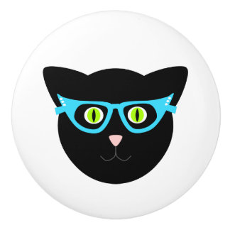 Bouton De Porte En Céramique Chat noir en verres sur le blanc
