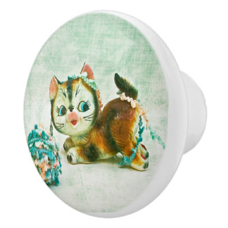 Bouton De Porte En Céramique Chat vintage de Kitty