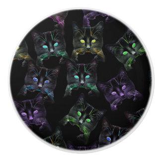 Bouton De Porte En Céramique Chats frais sur le noir ! Chats géniaux